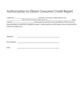 Credit Report Authorization Form Template by Authorization For Credit Check Form Generic Free