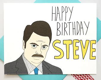 Cold Steve Birthday Card Funny Birthday Card Ron Swanson Parks And Recreation