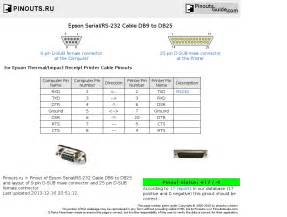 epson serial rs 232 cable db9 to db25 pinout diagram pinoutguide
