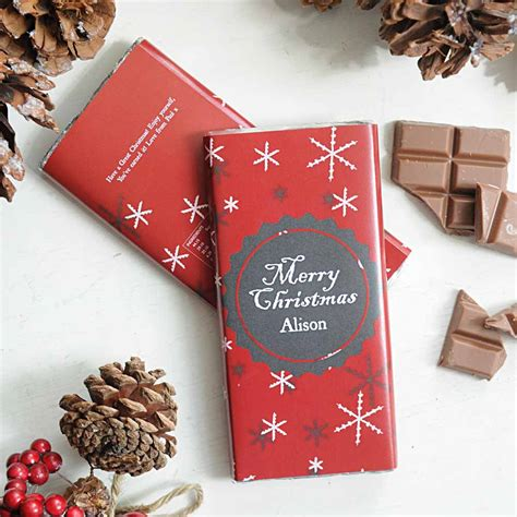 personalised christmas chocolate bar snowflakes i just