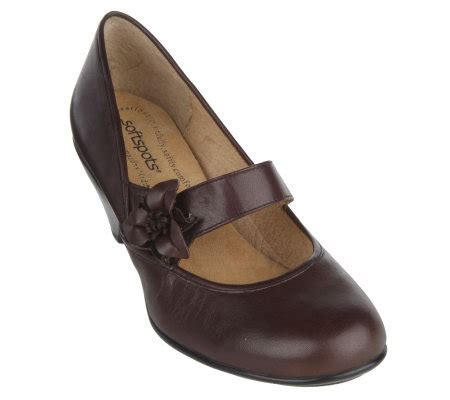 comfort wedge pumps softspots leather comfort wedge maryjane pumps page 1