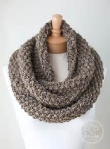 How To Knit An Infinity Scarf Knit Infinity Scarf Chunky Knit Scarf In Taupe By