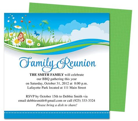 templates for reunion invitations summer breeze family reunion party invitation templates