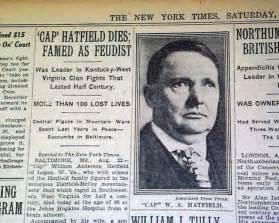 Cap hatfield devil anse s son death hatfield mccoys feud fame 1930 old
