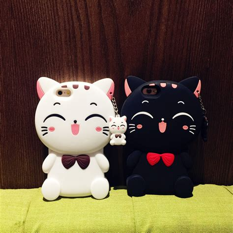 Iphone 6 6s 3d Bowknot Lucky Cat Silicone Cases Cover T1910 6 3d kawaii lucky cat lovely charm silicone for iphone