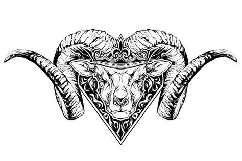 cartoon ram tattoo black and white tattoo of a ram head in crown stock