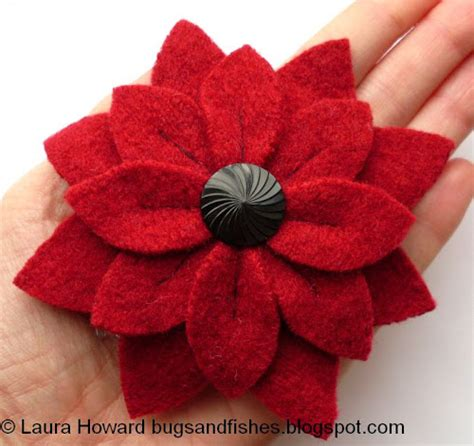 Handmade Felt Flowers Tutorial - bugs and fishes by lupin how to large felt flower brooches