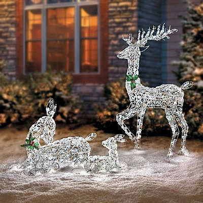 Led Lighted Wireframe Reindeer Family Outdoor Christmas Outdoor Deer With Lights
