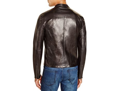 Crows Denim Jaket Leather Exclusive lyst eleventy leather biker jacket 100 bloomingdale s exclusive in black for