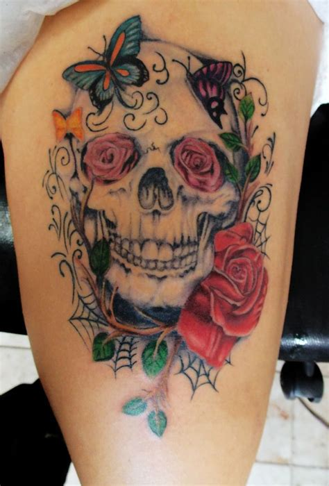 skull with flowers tattoo 25 best skulls and roses tattoos images on