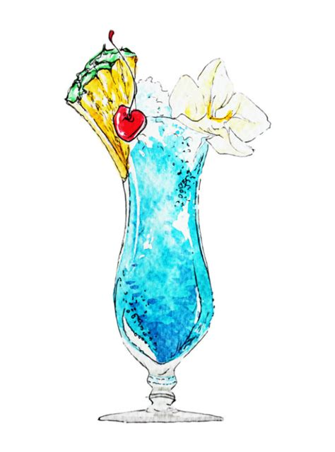 watercolor cocktail cocktail art print watercolor art summer drink blue