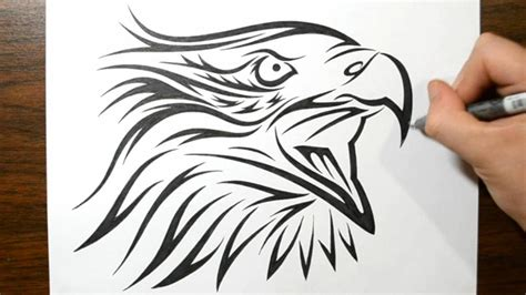 tribal eagle tattoos how to draw a tribal eagle design