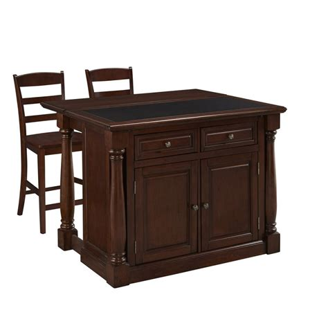 home styles monarch kitchen island monarch cherry kitchen island and two stools homestyles