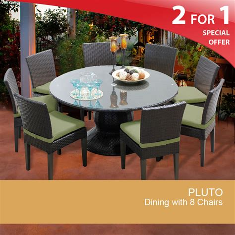 outdoor table seats 8 pluto 60 inch outdoor patio dining table with 8 chairs