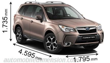 2013 subaru forester length dimensions of subaru cars showing length width and height
