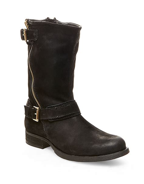 leather sneaker boots lyst steve madden kavilier leather boots in black