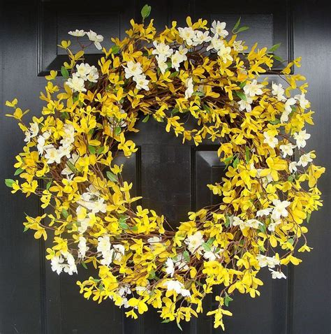spring door wreath year round wreath spring forsythia wreath by elegantwreath