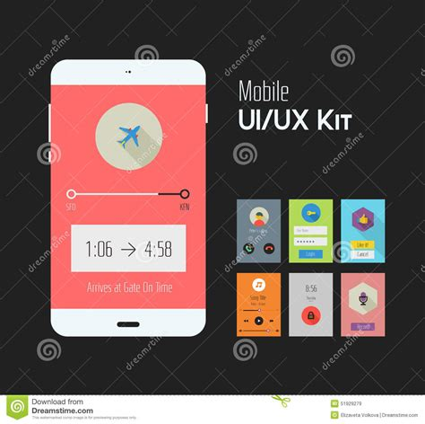 mobile application design kit flat ui or ux mobile apps kit