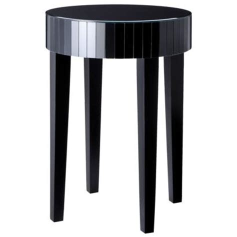 black round accent table round black mirrored accent table
