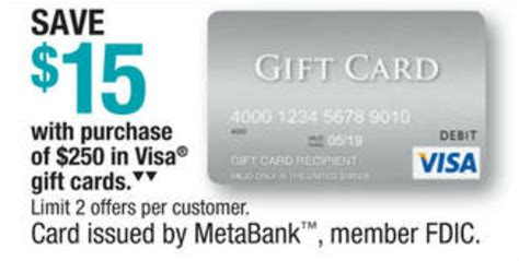 Discount Visa Gift Cards - officemax 15 off 250 in visa gift cards frequent miler