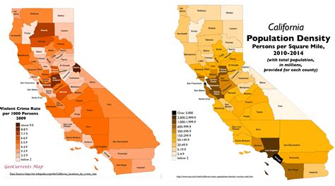 california map by population surprising patterns in geography of crime in california