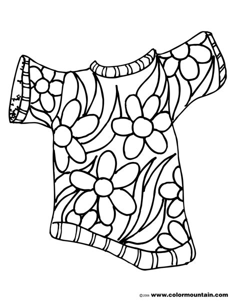 Summer Flower Shirt Color Picture Create A Printout Or Cool Shirt Coloring Pages