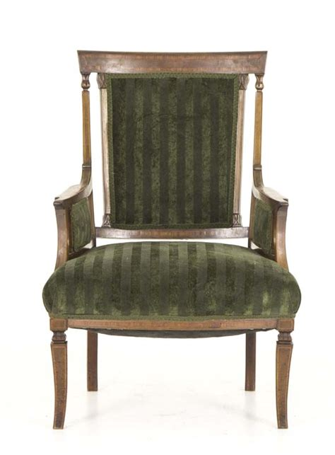 vintage chair rentals vancouver antique armchair mahogany satinwood inlay