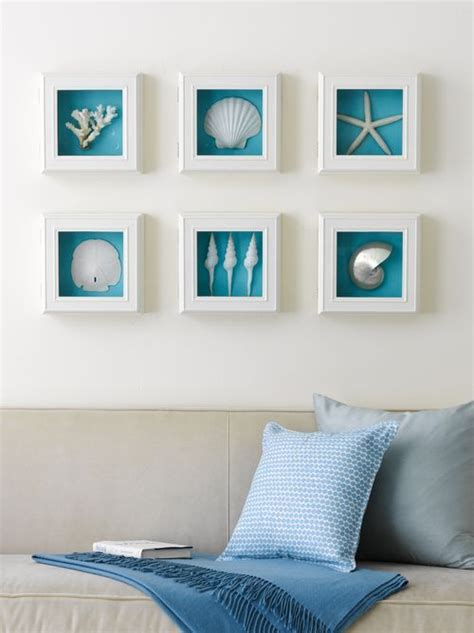 inspired wall decor shells white shadow box frames brilliant blue background