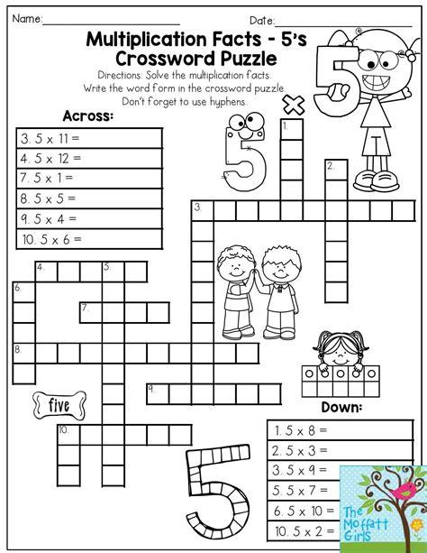 printable puzzles grade 3 multiplication facts crossword puzzle third grade