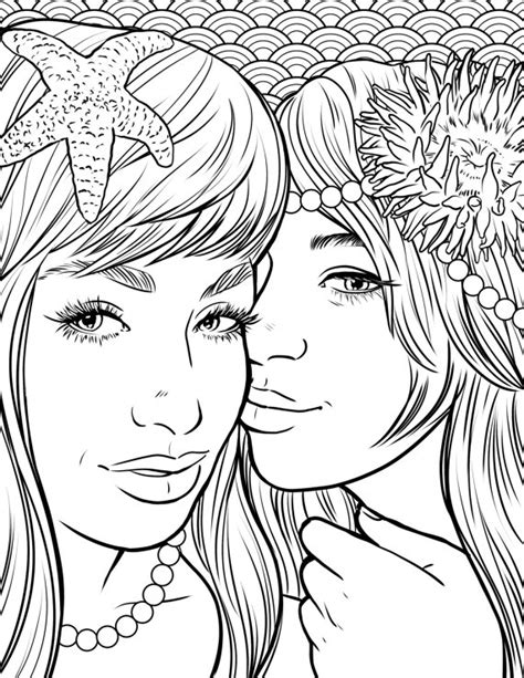 coloring pages for adults etsy items similar to pretty mermaids makeup coloring page