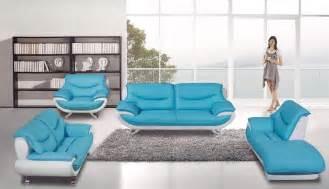 Light Blue Leather Sofa Ae088 Lb I Light Blue Ivory 4 Pcs Leather Sofa Set Slick Furniture Store