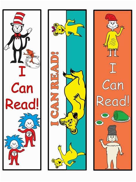 printable preschool bookmarks free dr seuss bookmarks for educational purposes only