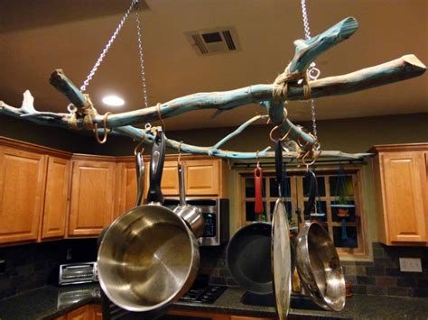 Wall Hooks For Pots And Pans Pots And Pans Rack With Unique Twigs Do It Yourself