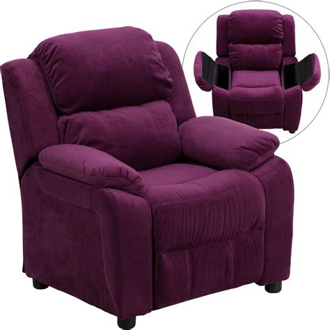 reclining chairs for kids deluxe padded contemporary purple microfiber kids recliner