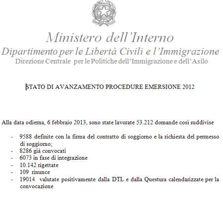 ministero dell interno immigrazione sanatoria regolarizzazione o sanatoria 2012 50 promossi 50