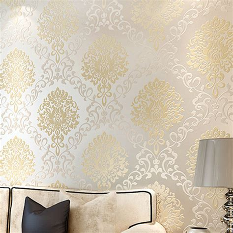 silver  gold damask wallpaper gallery