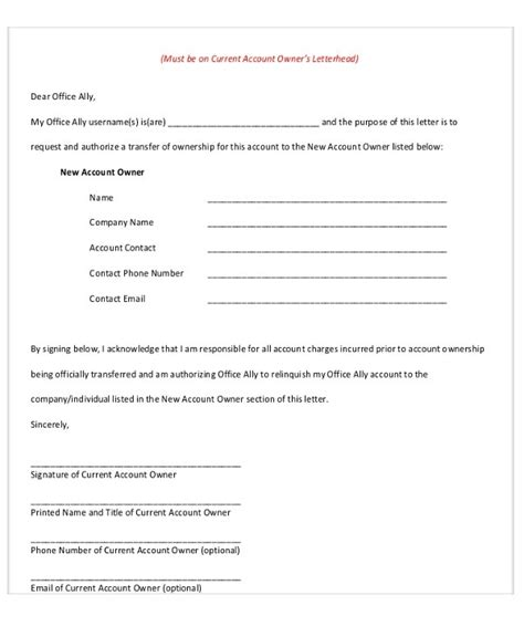 Transfer Letter Format Pdf template change of ownership letter ingyenoltoztetosjatekok