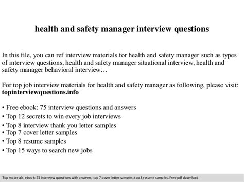 health and safety manager questions
