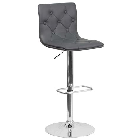 Flash Furniture Adjustable Bar Stool by Flash Furniture Adjustable Height Gray Cushioned Bar Stool
