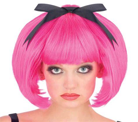 Sale Wig Bob Pink H A59 Wig Bob Warna Premium hair bob wig with bow pink ebay