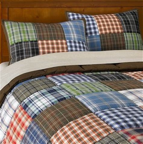 plaid boys bedding patch plaid quilt sham contemporary kids bedding