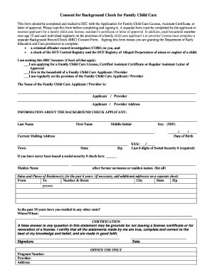 Dcfs Background Check Form Mass Eec Consent For Background Records Check Form Fill