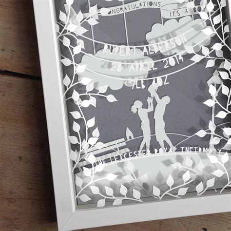How To Make Layered Papercuts - personalised baby boy layered papercut by the