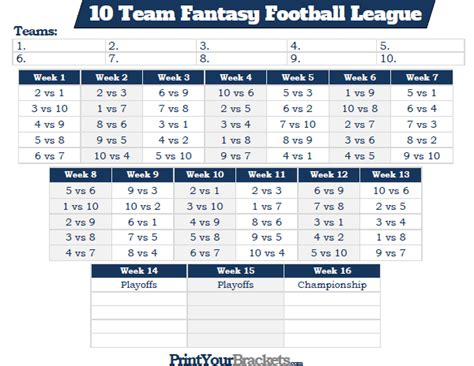 10 Team League Schedule Template Printable 10 Team Fantasy Football League Schedule