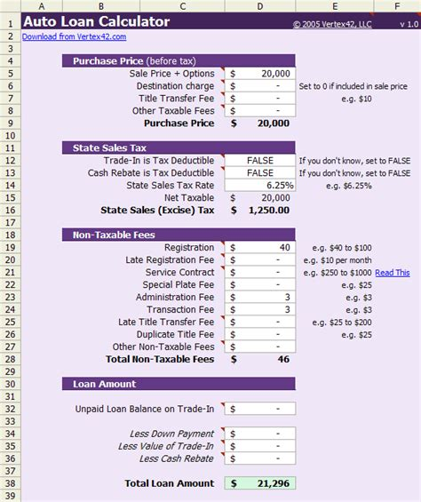 Auto Loan Calculator Free Auto Loan Payment Calculator For Excel Car Payment Calculator Excel Template