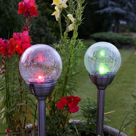 Solar Powered Stainless Steel Colour Changing Led Glass Garden Lights Solar