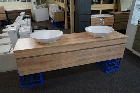 Wall Hung Bathroom Vanities Asti 1800mm White Oak Timber Wood Grain Wall Hung Double