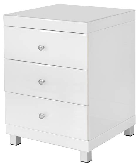 Glass Bedside Drawers white glass 3 drawer bedside unit fm688 be fabulous