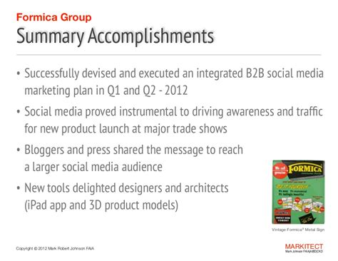 formica summary accomplishments