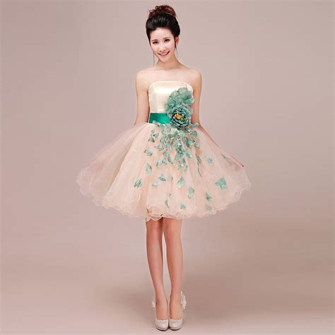 Flowery Dress By Delima Style fashion chagne color s design club evening dress flower dress weeding dress in